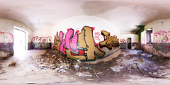 Graffiti Library (alex) Tags: old italy panorama art abandoned public graffiti dangerous earthquake mural mess library room ruin 360 plaster ceiling ghosttown sicily inside 1968 cracks damaged destroyed wallpainting 360x180 sicilia rubble mega degrees fisheye