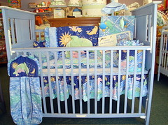 Blue Crib with Bedding