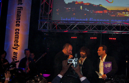 Brendon Burns on the phone to his mum after winning the if.comedy award at the Edinburgh Festival Fringe 2007