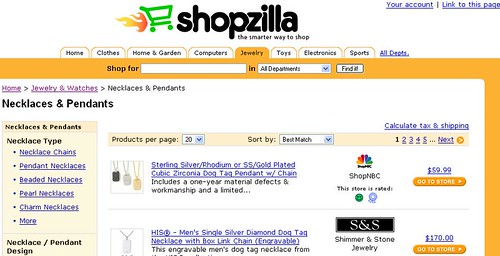 Shopzilla shopping search