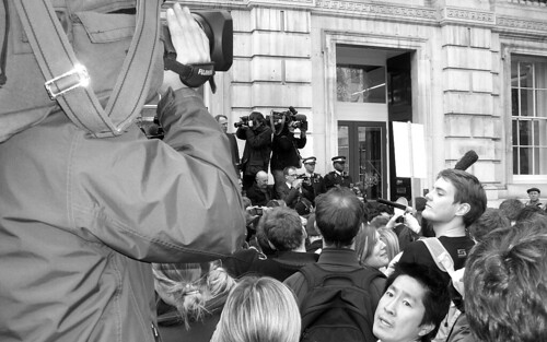 World media waiting outside the Cabinet Office on Whitehall, London