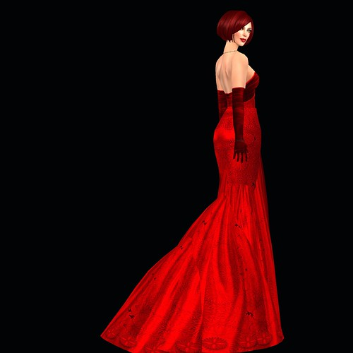 Beautiful Red Dress. I have red hair, this time a sleek bob from boo