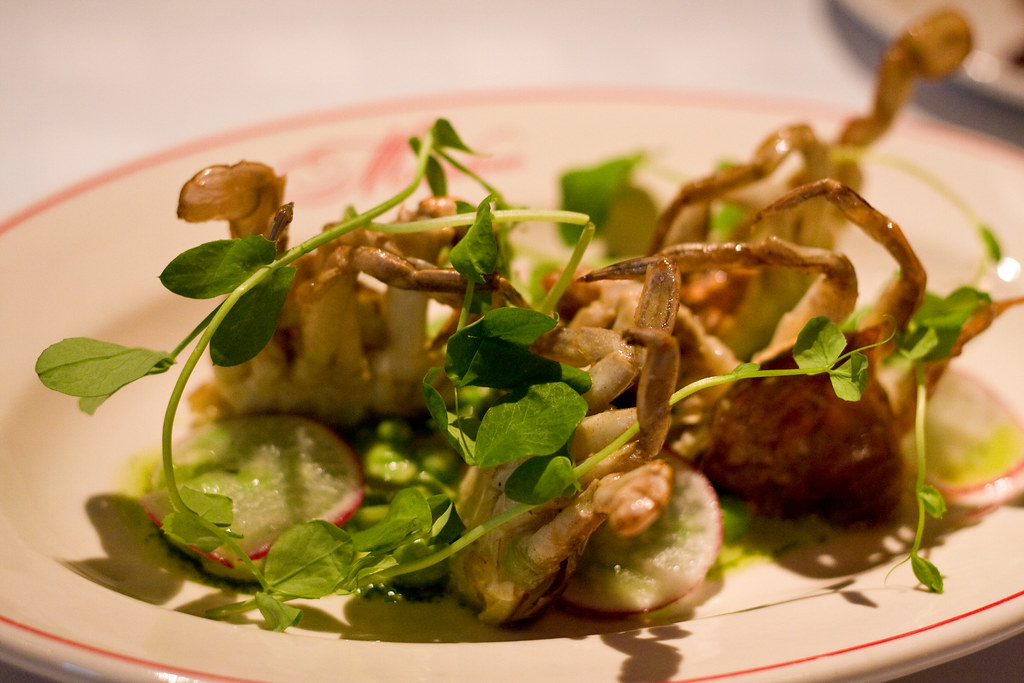 Soft shell crab and spring peas, Maialino