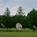 Massive satellite dishes by pine trees