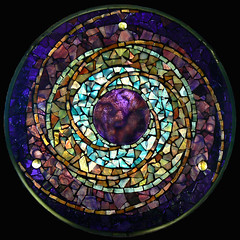 Plum Planet (artglassmosaics) Tags: glass mosaic mandala stained planet celestial mandalas artglassmosaics