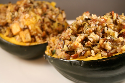 Tofu, Wild Rice and Hazelnut Stuffed Acorn Squash