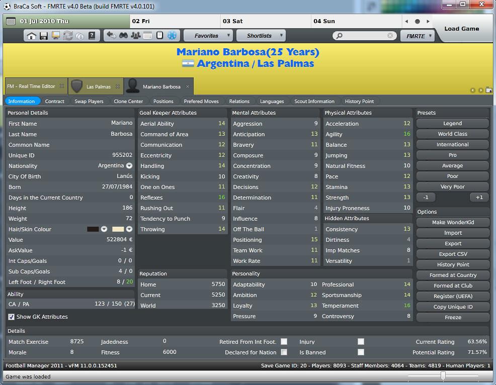 FM 2011 Data Editors - FMRTE for FM2011