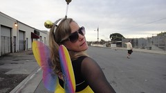 Bayview Butterfly (Lynn Friedman) Tags: sanfrancisco costumes decorations holiday black halloween sunglasses fashion yellow costume wings shades bee suit hunterspoint bayview antenna eyewear lynnfriedman friedmanlynn
