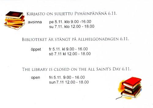 Pyhäinpäivä Entressen kirjastossa
