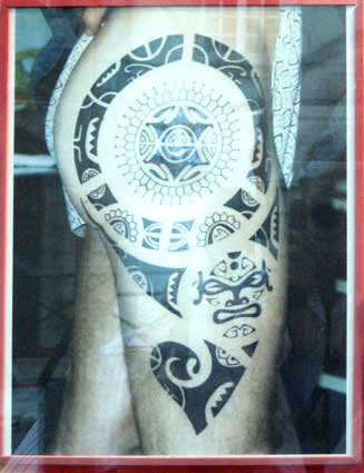 Star of David Tattoo photo of a six pointed star surrounded by circles in a