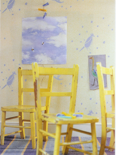blue and yellow child's room