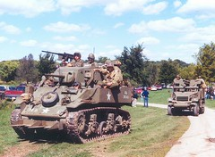 WWII reenactment, Rockford, Illinois (Lyle58) Tags: tank military wwii m3 reenactment machinegun halftrack antitank militaryvehicle 75mm 50cal 37mm m5a1 tankdestroyer 30cal lighttank m3halftrack m5a1stuart 70thtankbattalion