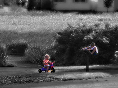 Summer is for playing (b&w cutout) (RichTatum) Tags: wallpaper landscape richtatum blogrodent august2007 nikon nikon3200 blackandwhite bw black white infrared cutout kids children playhing aj ellie trike tricycle park summer playing people snapshot lumisgallery:blog=photoblog child daughter elisabeth face kid son alexander boy romeoville illinois geotagged geo:lat=41622093 geo:lon=88128558 appleofmyeye elisabethrose ellierose 3200 baby beautiful chica childhood cute cutie damsel darling girl girly lass maiden pretty rose scion sweetheart candid blond progeny beauty family love youngman