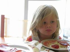 Baby Breakfast (GrusiaKot) Tags: morning pink light summer portrait food baby 6 girl breakfast kid child sad emotion sweet eating thoughtful blonde highkey tender decision 6millionpeople millionpeople