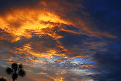 Fire In The Sky (i_am_durin) Tags: blue sunset sky sun yellow set clouds canon fire myrtlebeach raw unsharpmask fireinthesky abigfave durinsday