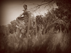 Summer in Autumn (Opal in the rough) Tags: flowers trees portrait me nature grass sepia self skirt mel prairie opal opalintherough