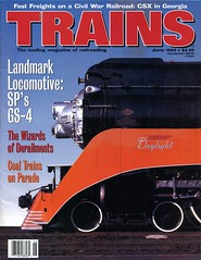 SP #4449 on cover of Trains Magazine, June 1993_img897 (Wampa-One) Tags: orange train daylight engine steam sp cover locomotive streamlined southernpacific 484 sp4449 4449 june1993 gs4 trainsmagazine