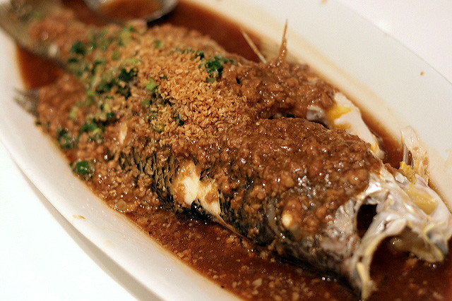 Steamed Crimson Snapper with Minced Pork in Bean Sauce