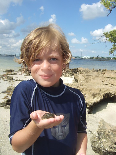 Jake with a juvenile burrfish!