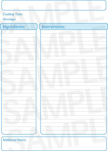 Printable Blue Recipe Template  Free Printables Online