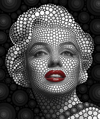 Marilyn Monroe (Ben Heine) Tags: california wallpaper portrait woman usa inspiration cinema sexy art love home beautiful beauty shop work print poster losangeles frames model glamour pretty circles marilynmonroe femme details famous suicide fame creative goddess culture icon pop sensual canvas popart creation showgirl amour hollywood singer actress buy moviestar prints redlips gloss feminism imaging jolie lipstick sensuality copyrights deco overdose interview legend pinup homicide glamor career pointillism gentlemenpreferblondes cercles barbiturates benheine fashionlady normajeanemortenson normajeanebaker marilynposter diasec marilynmonroeart digitalcirclism marilynprint