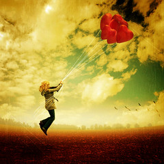 ~ hold on love ~ (~ Pixel Passion ~) Tags: autumn sky woman mist fall texture love colors girl field birds silhouette misty fog female clouds balloons hearts landscape fly flying colorful alone loneliness sad power heart wind foggy windy scratches lonely strength concept conceptual autumnal lonesome