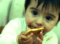 "{ It's Sweet ! It's Chocolate } (    Neutral --"") Tags: baby color cute girl yellow yummy yum sweet chocolate small ruin cyan dirty coco tiny isolation cracker gala cure crackers tone ruined biscit"