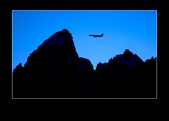 651001 (MICHAEL G. SEAMANS) Tags: airplane jet air travel tourism grand tetons grandtetons nationalpark jacksonhole moose wyoming america northamerica cllimbing climb climber night plane airport mountains mountain