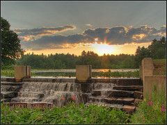 Osgood Pond Dam at Sunset (Dave Delay) Tags: newhampshire nh hdr 3xp milfordnh osgoodpond