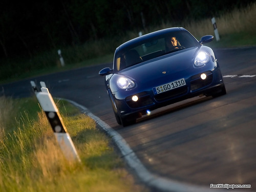 Porsche Cayman Blue Front