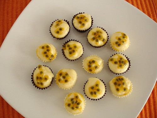 Passion fruit mousse in tiny chocolate cups