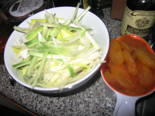 chopped leeks and apricot
