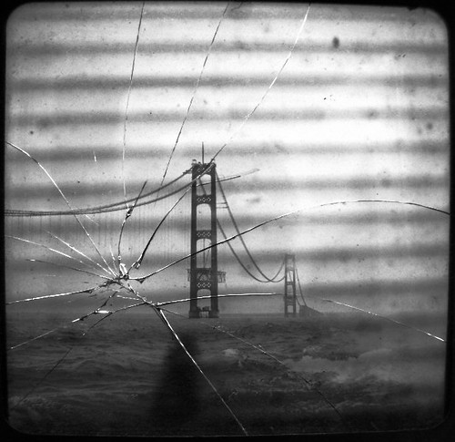 Mackinac Bridge under construction