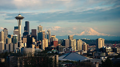 130. Almost There (prenetic) Tags: seattle park city blue trees sunset sky urban mountain snow water clouds buildings volcano evening washington view skyscrapers queenanne hill towers structures landmarks arena rainier spaceneedle pugetsound kerrypark overlook mtrainier keyarena density dense venues vantagepoint tbyrd