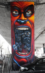 Warsawa (Fat Heat .hu) Tags: art face graffiti eyes mural character cartoon pillar ladder spraycan