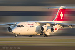 Swiss International Air Lines BAe-146. (Greg Bajor) Tags: city london lines airplane switzerland airport image swiss air jet international gregory bae146 birdlike lcy bajor eglc birdlikeimages gregbajor