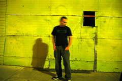 190/365 days - walking the thin red line (badjonni) Tags: shadow blur colour yellow wall night self colorful 100 redline 365days