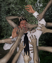 Aaaaaaargh! (Bobshaw) Tags: trees portrait photoshop self hands arms attack surreal manipulation creepy zombies bobshaw