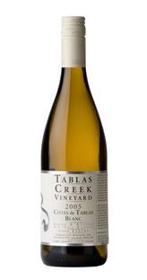 A bottle of Tablas Creek Vineyard 2005 Cotes de Tablas Blanc