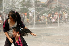 Playing in fountains (Rafal Bergman) Tags: china girls wild pagoda big goose xian fontains