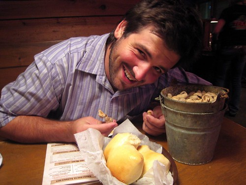 Husbear with Texas Roadhouse's peanuts and rolls