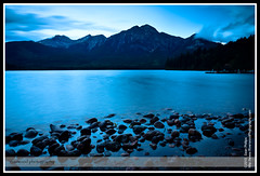 Pyramid Mountain and Pyramid Lake at Sunrise