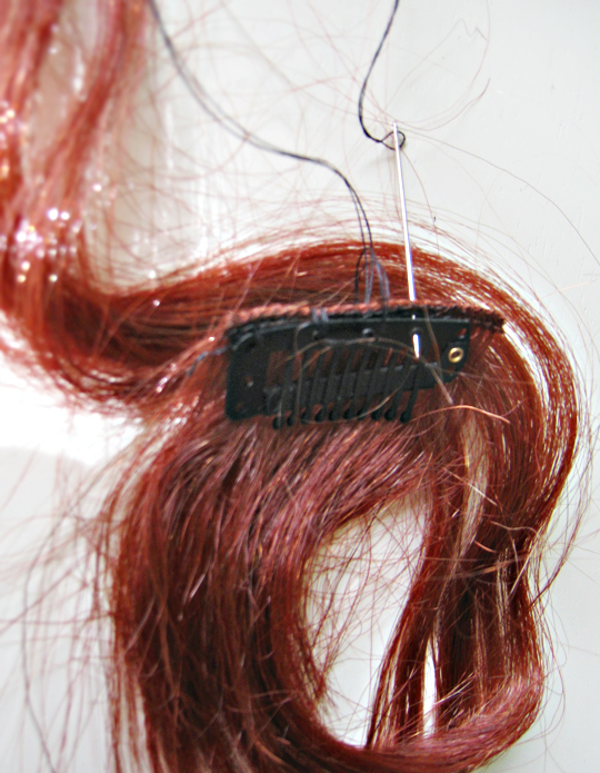 how to make clip in hair extension from a wig+DIY+Hair Tutorial+Costumes+Halloween wig - 6