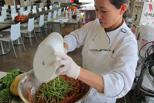 Making Kimchi: chef EJ Jeong adds chives