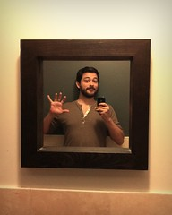 52 Weeks (24): Framed! (Sion+Anton) Tags: portrait brown reflection self bathroom mirror cafe mememe iphone4 justaquickhello iphoneography antonkawasaki gaybeardedmale wavinghiwithhand