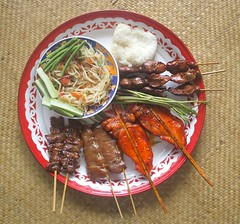 Grilled chicken and pork, Som Tam and sticky rice |  ,    (Thai Food Blog) Tags: food chicken thailand salad meat grill pork
