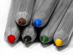 color pencil (rockwilda) Tags: blue red blackandwhite brown white black color macro green yellow closeup pencil 150 panasonic colored makro colorpencil fz50 colorkey raynox stifte 123bw platinumheartaward
