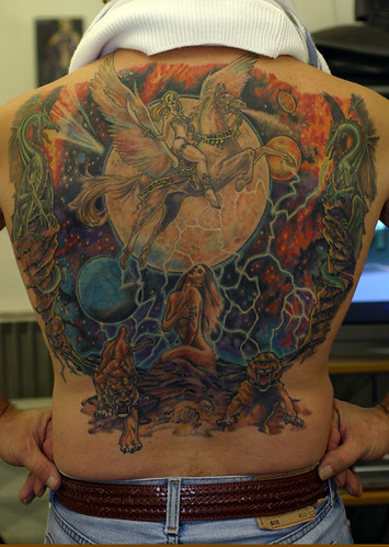 Amazing Colorful Back Tattoo