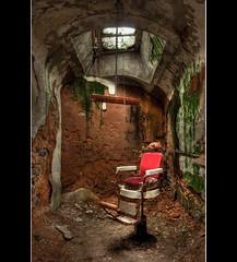 Little (Barber) Shop of Horrors (Jeff Milsteen) Tags: philadelphia jeff dark chair rust state pennsylvania cement cell prison barber jail algae eastern dank penitentiary cellblock decripit jlmphoto milsteen