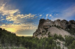 Mount Rushmore Sunset (Scottwdw) Tags: travel blue trees sunset vacation sky sculpture mountain green clouds southdakota landscape evening nikon memorial rocks unitedstates granite keystone mountrushmore hdr highdynamicrange presidents 28300mm vr nationalmonument photomatix d700 aperture3